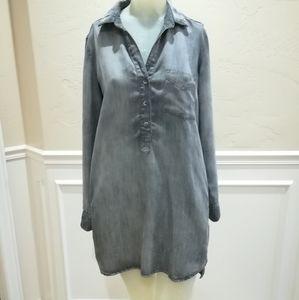 Bella Dahl gray chambray tunic dress